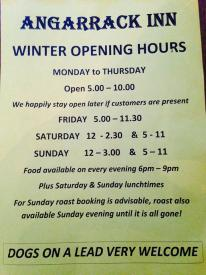 Hi Guys ! Please note our temporary earlier opening hours for the period of the Angarrack Christmas Lights